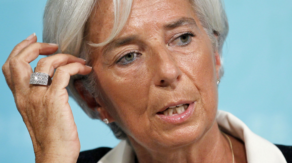 FILE - In this Tuesday, July 3, 2012 file picture, International Monetary Fund Managing Director Christine Lagarde speaks during a news...