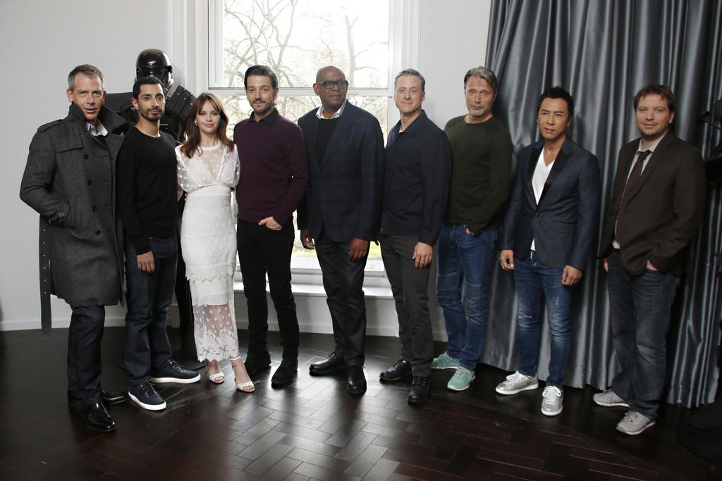 Actors from left, Ben Mendelsohn, Riz Ahmed, Felicity Jones, Diego Luna, Forest Whitaker, Alan Tudyk, Mads Mikkelsen, Donnie Yen and di...