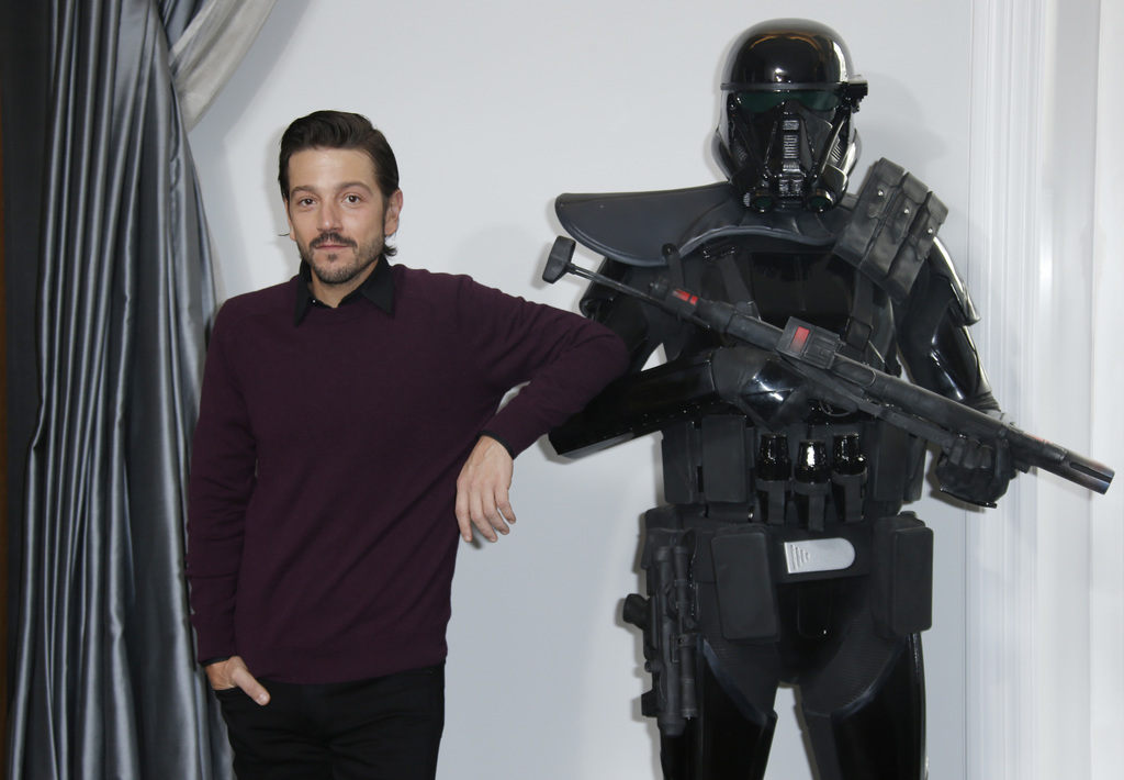 Actor Diego Luna poses for photographers during the Rogue One: A Star Wars Story fan photo call in London, Wednesday, Dec. 14, 2016. (P...