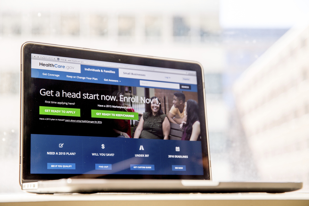 FILE - In this Oct. 6, 2015, file photo, the HealthCare.gov website, where people can buy health insurance, is displayed on a laptop sc...