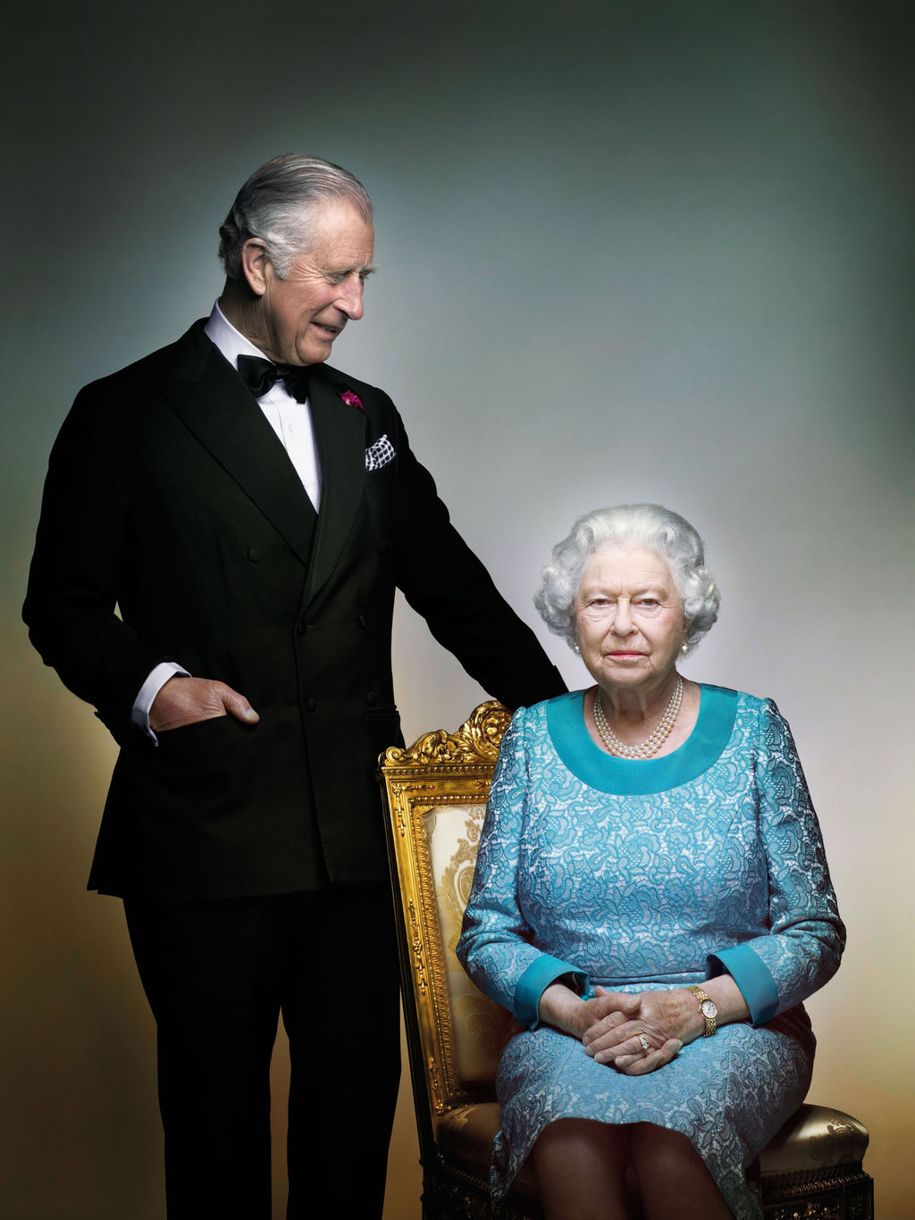 This photograph taken by Nick Knight is a portrait of Britain's Queen Elizabeth II and Prince Charles, taken in the White Drawing Room ...