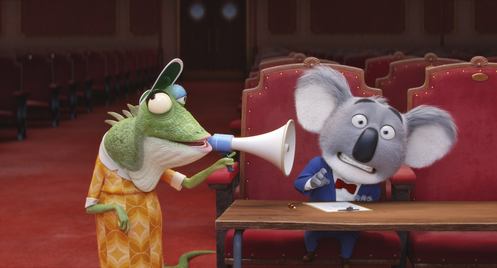 This image released by Universal Pictures shows characters Buster, voiced by Matthew McConaughey, right, and Miss Crawly, voiced by Gar...