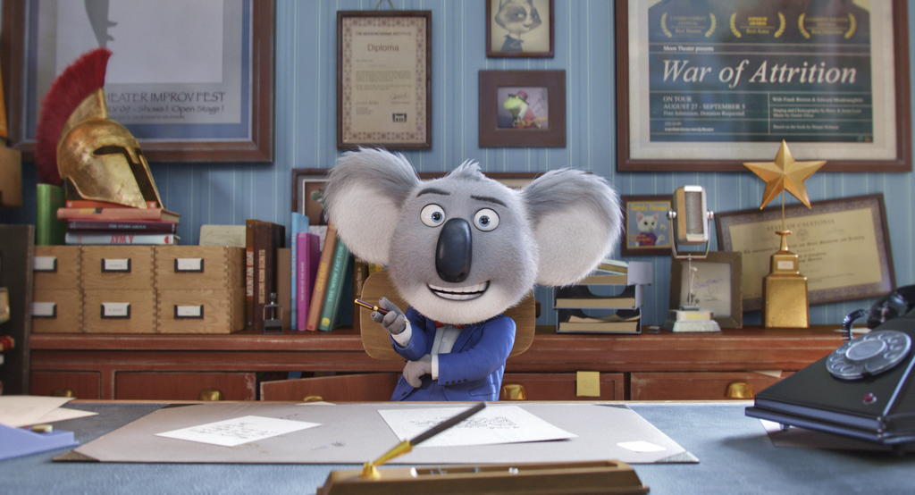 """This image released by Universal Pictures shows the character Buster, voiced by Matthew McConaughey, in a scene from """"Sing."""" (Universal..."""