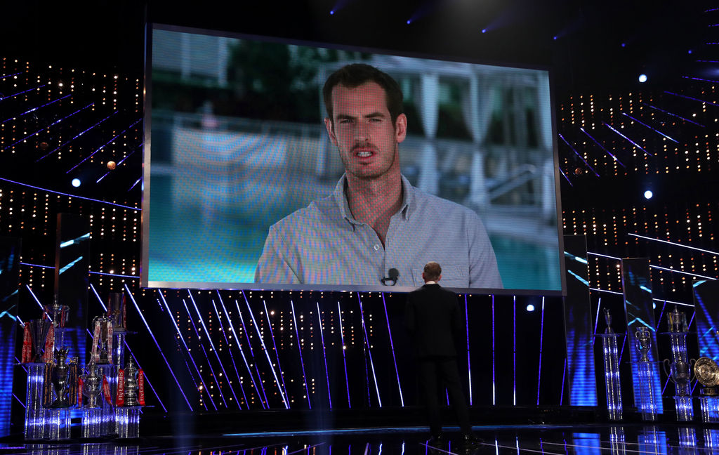 Andy Murray is interviewed by Gary Lineker over a video link prior to the announcement of him winning the BBC Sports Personality of the...