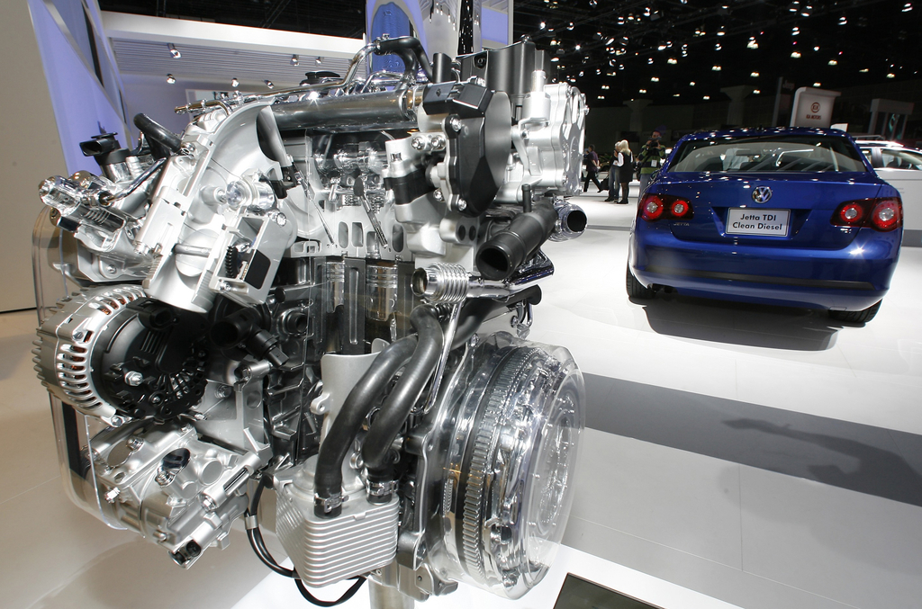 FILE - In this Nov. 20, 2008, file photo a Volkswagen Jetta TDI diesel engine is displayed at the Los Angeles Auto Show. Volkswagen is ...