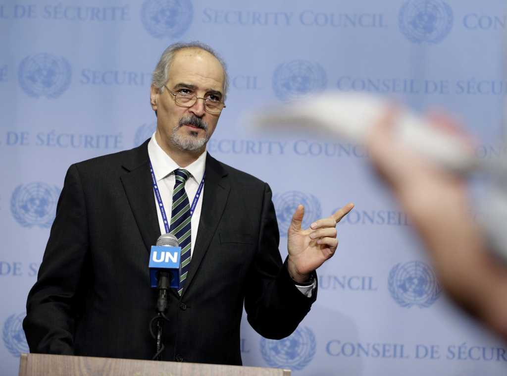 Syria's Ambassador to the United Nations Bashar Jaafari speaks to reporters after a Security Council meeting at U.N. headquarters, Mond...