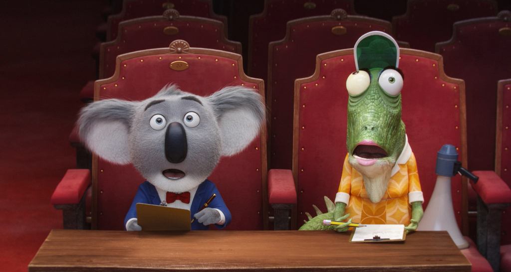 This image released by Universal Pictures shows the character Buster, voiced by Matthew McConaughey, left, and Miss Crawly, voiced by G...