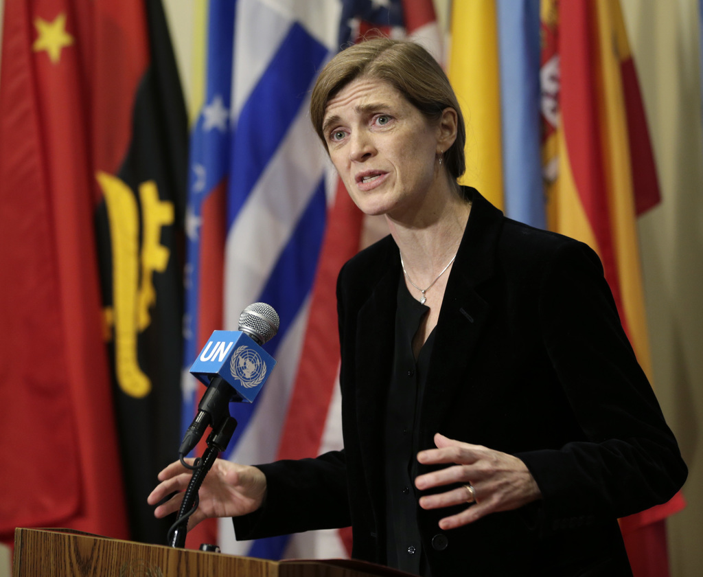 United States Ambassador to the United Nations Samantha Power speaks to reporters after a Security Council meeting at U.N. headquarters...