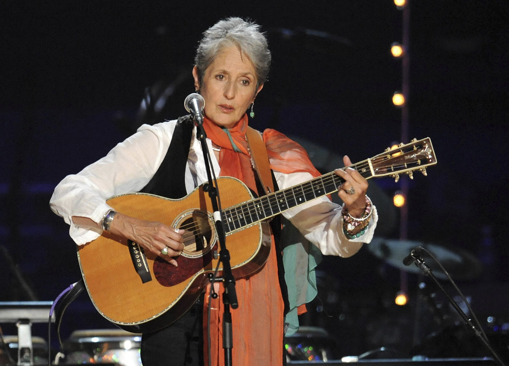 FILE - In this May 3, 2009 file photo, Joan Baez performs at a benefit concert celebrating Pete Seeger's 90th birthday at Madison Squar...