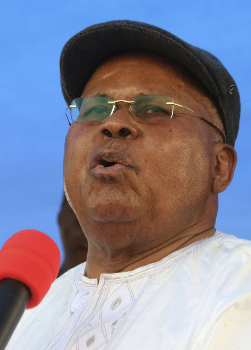 FILE - In this Wednesday, July. 31, 2016 file photo, Congo's largest opposition party leader Etienne Tshisekedi speaks during a politic...