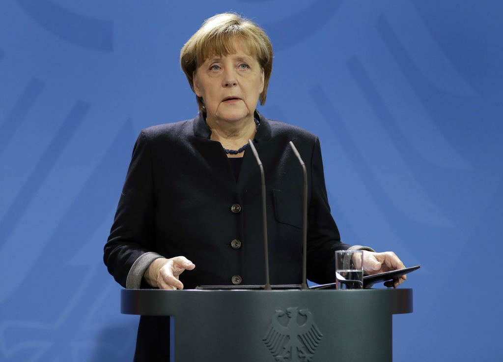 German Chancellor Angela Merkel speaks during a statement at the chancellery in Berlin, Germany, Tuesday, Dec. 20, 2016 the day after a...