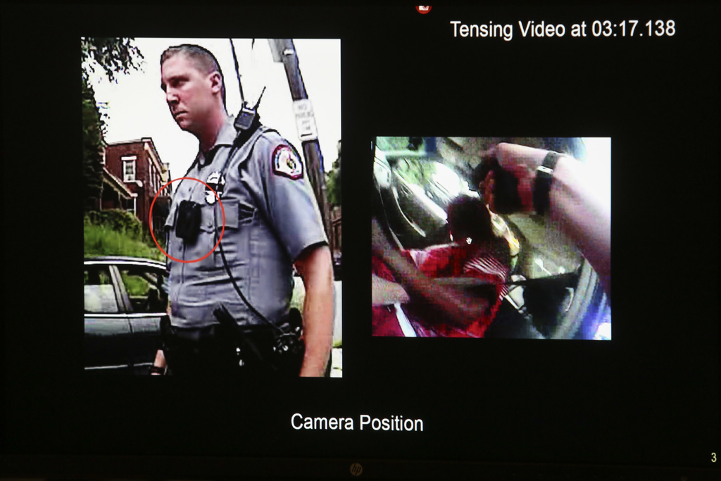 FILE - This Nov. 3, 2016 file photo shows a photograph of University of Cincinnati police officer Ray Tensing and his body camera foota...