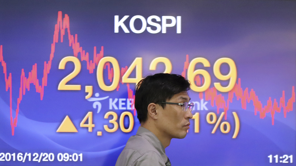A currency trader walks by the screen showing the Korea Composite Stock Price Index (KOSPI) at the foreign exchange dealing room in Seo...