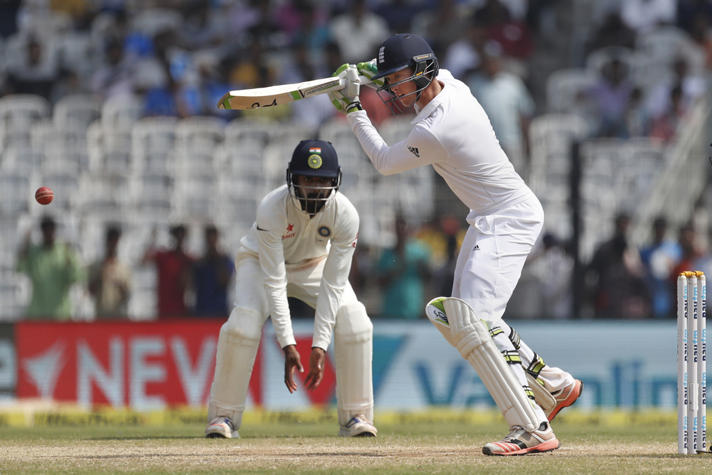 England's Keaton Jennings plays a shot during their fifth day of the fifth cricket test match against India in Chennai, India, Tuesday,...