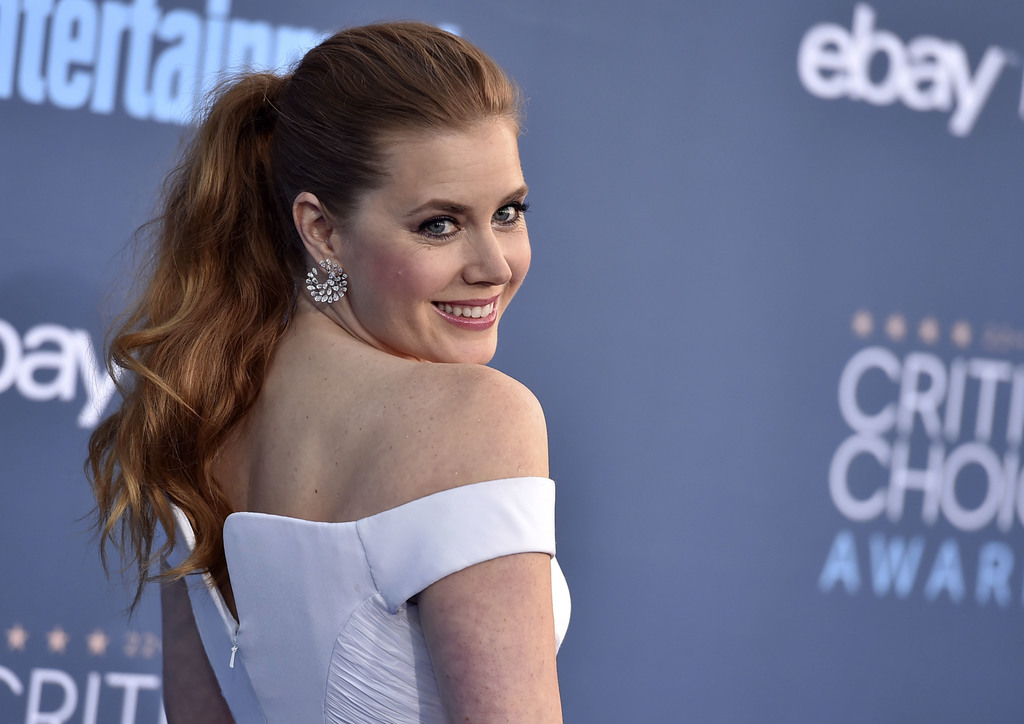 FILE - In this Sunday, Dec. 11, 2016, file photo, Amy Adams arrives at the 22nd annual Critics' Choice Awards at the Barker Hangar in S...
