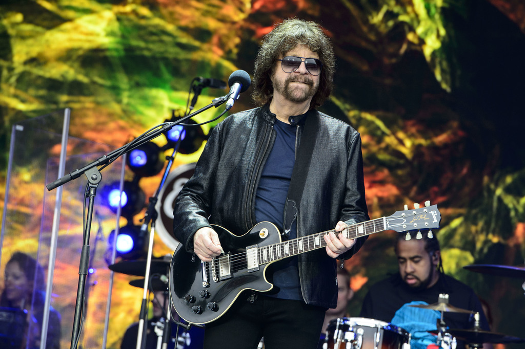 FILE - In this June 26, 2016 file photo, Jeff Lynne from British band Electric Light Orchestra performs at the Glastonbury music festiv...