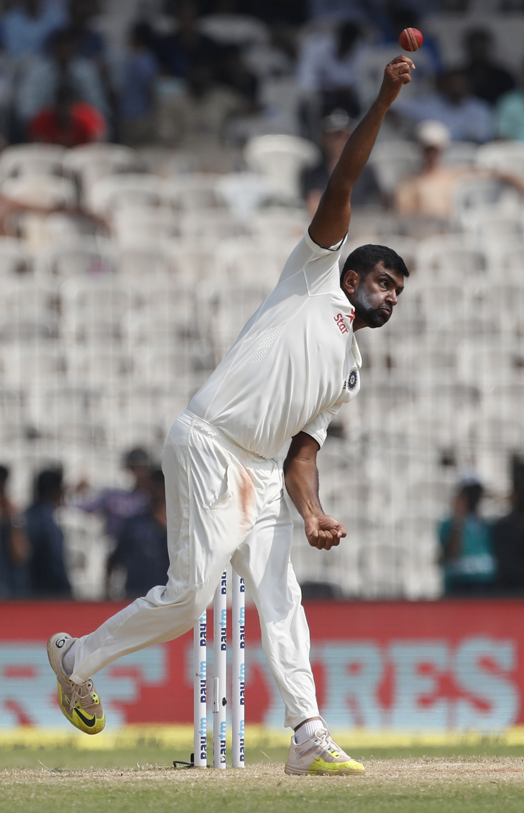 India's Ravichandran Ashwin bowls during their fifth day of the fifth cricket test match against England in Chennai, India, Tuesday, De...