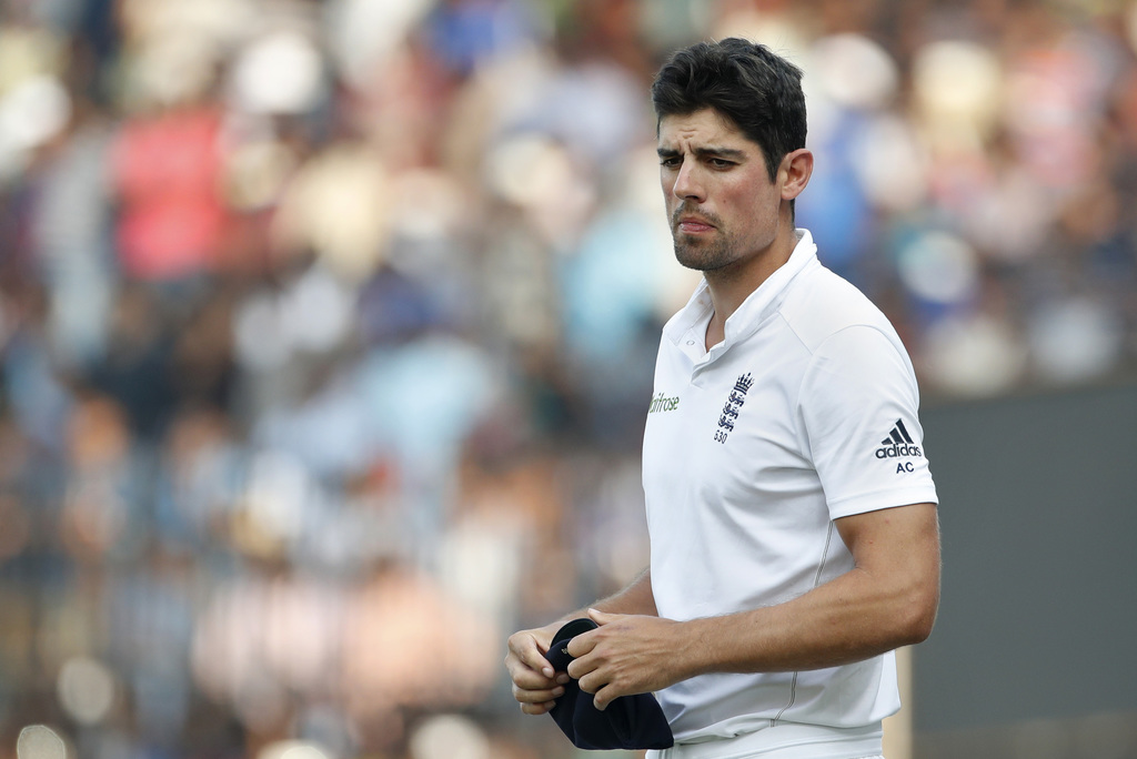 England's cricket captain Alastair Cook walks in the field after losing the test cricket series against India during their fifth day of...