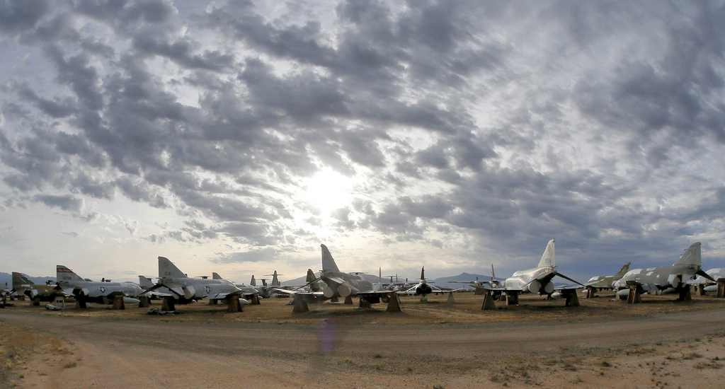 FILE - In this May 21, 2015 file photo a field of F-4 Phantoms are stored at the 309th Aerospace Maintenance and Regeneration Group bon...