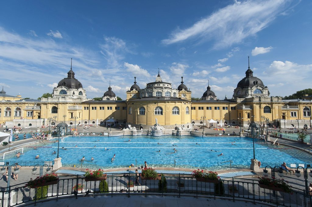 FILE - In this June 14, 2013 file photo one of the three outdoor pools of Szechenyi Thermal Bath and Swimming Pool is pictured in Budap...