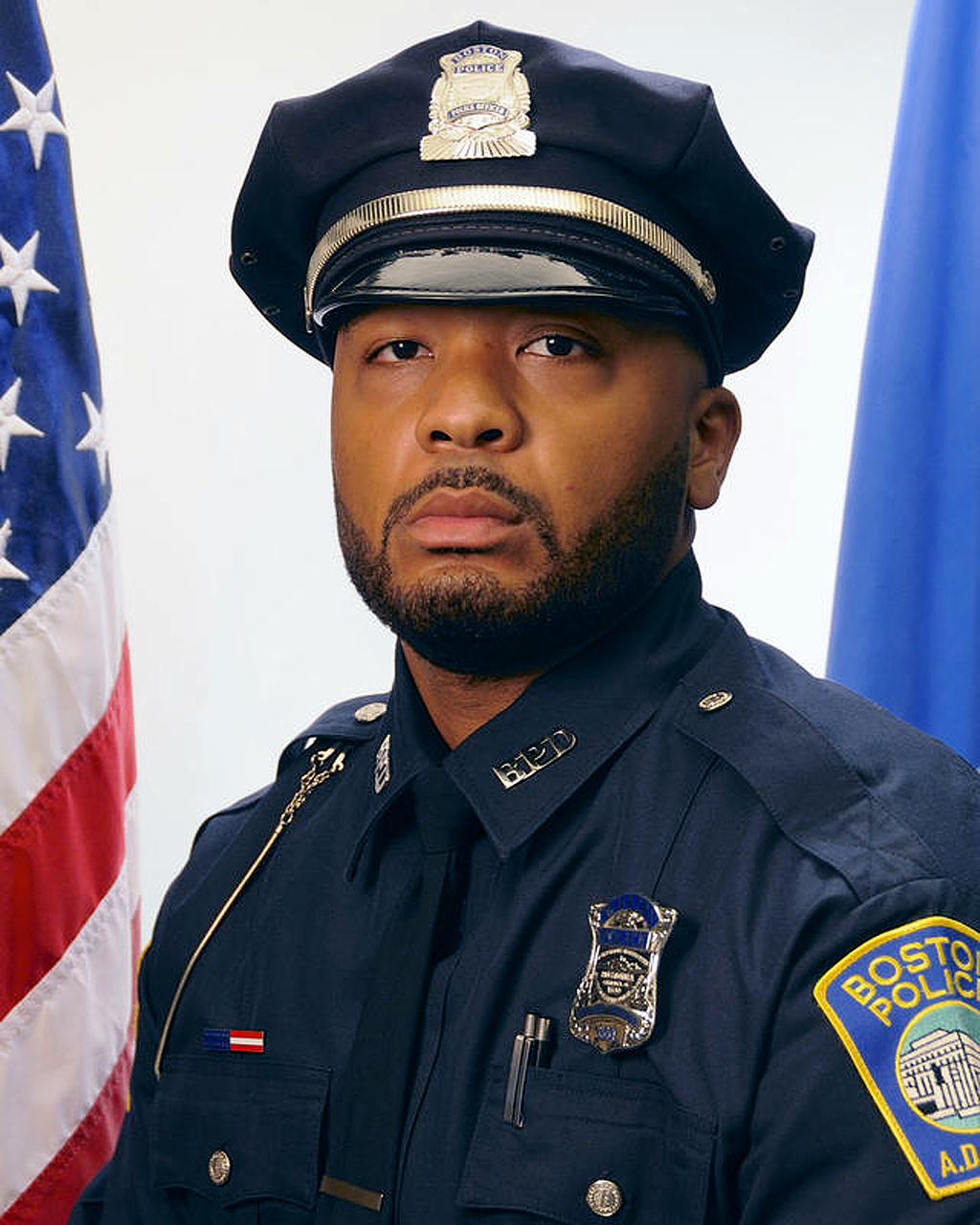 This undated official portrait released by the Boston Police Department shows policer officer Dennis Simmonds, who died on April 10, 20...