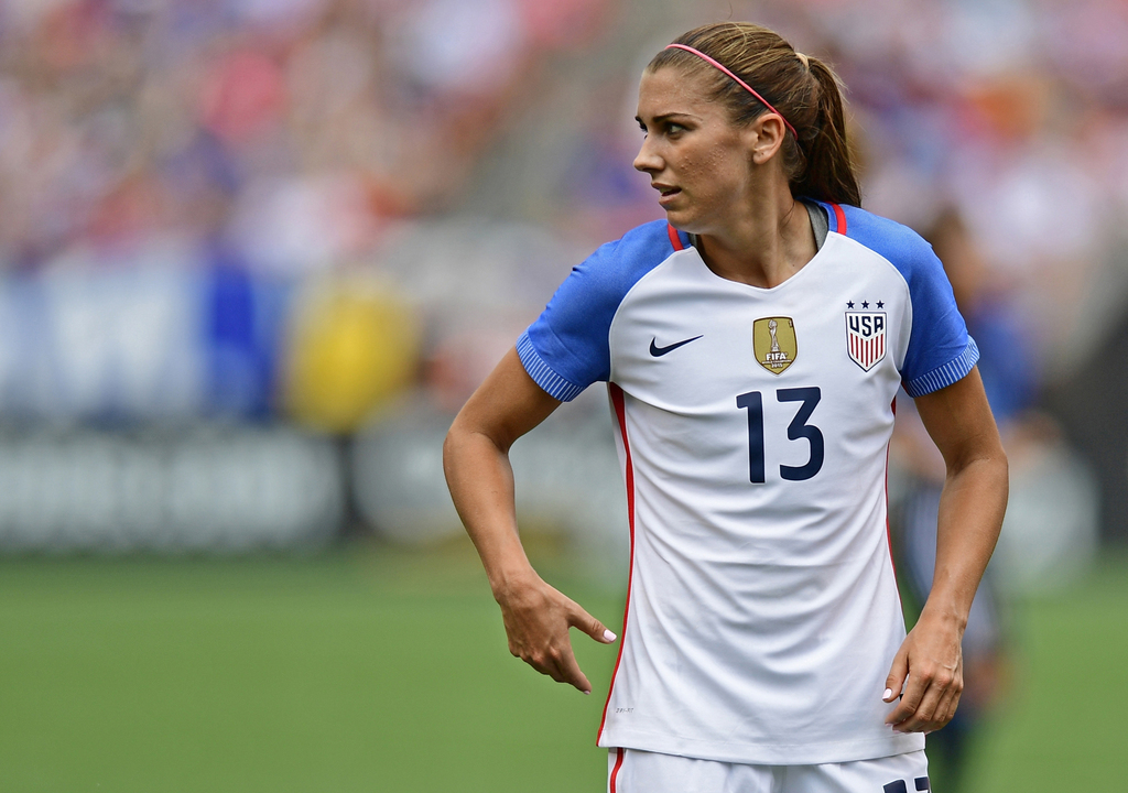 FILE - In this Sunday, June 5, 2016 file photo, United States forward Alex Morgan stands during the first half of an international frie...