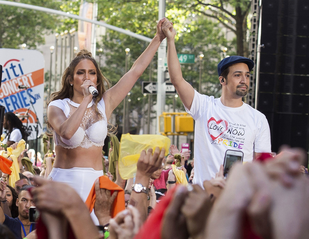 "FILE - In this July 11, 2016 file photo  Jennifer Lopez, left, and Lin-Manuel Miranda perform on NBC's ""Today"" show in New York. Mirand..."