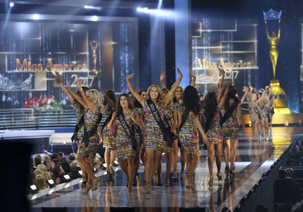 FILE- In this Sept. 11, 2016, file photo, contestants wave during the Miss America 2017 pageant in Atlantic City, N.J. Lanny Griffith, ...