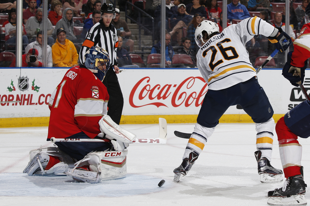 Florida Panthers goaltender Roberto Luongo (1) stops a shot by Buffalo Sabres left wing Matt Moulson (26) during the second period of a...