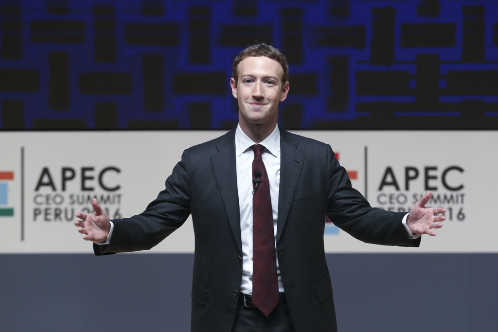 FILE - In this Nov. 19, 2016, file photo, Mark Zuckerberg, chairman and CEO of Facebook, speaks at the CEO summit during the annual Asi...