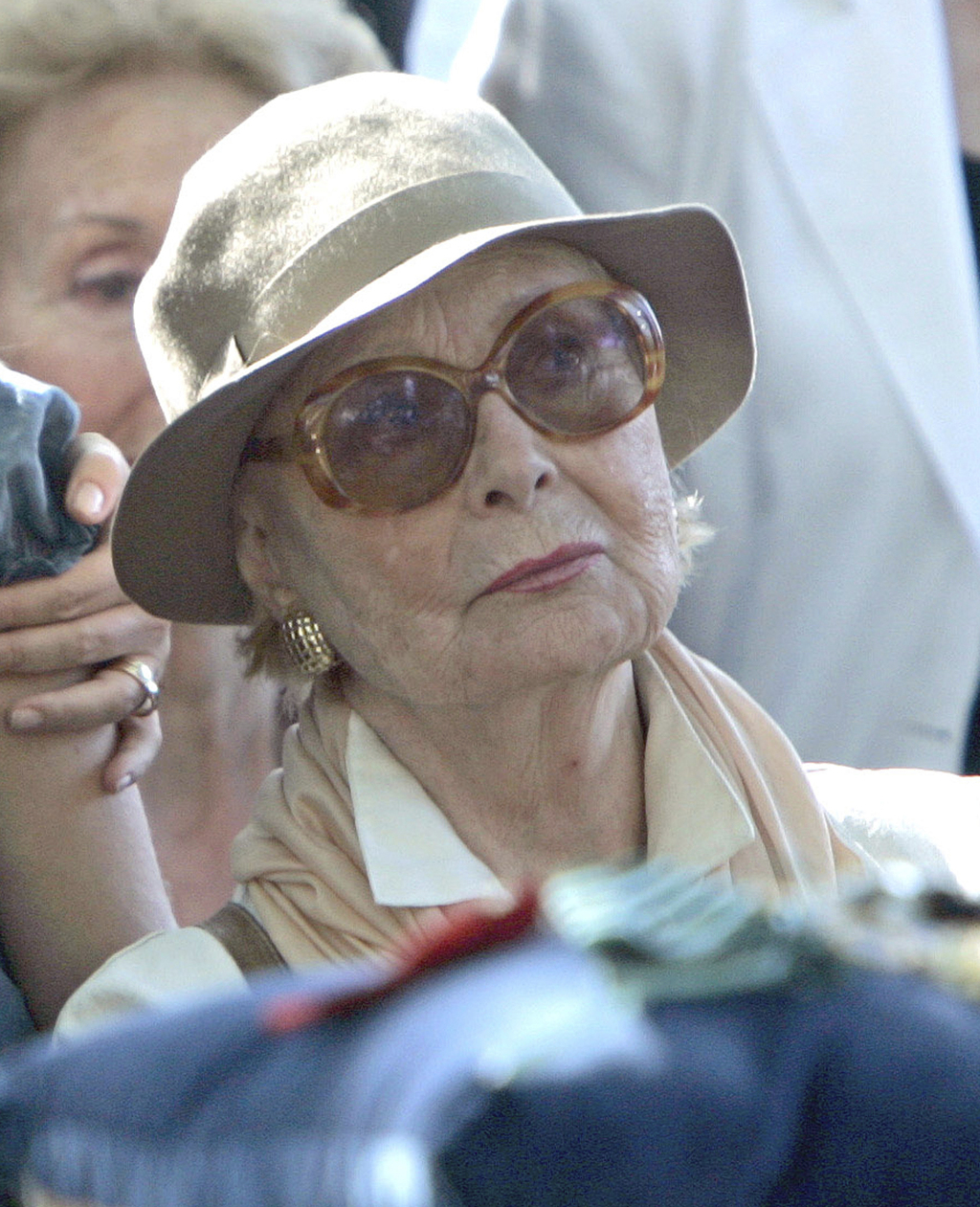 FILE - In this Monday, July 2, 2006 file photo, French actress Michele Morgan attends French director Gerard Oury's funeral at the Mont...