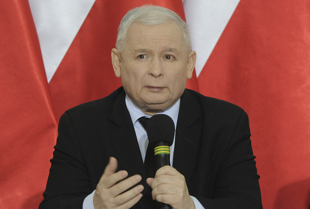 Jaroslaw Kaczynski, chairman of the populist ruling Law and Justice party, speaks during a press conference as a political crisis drags...