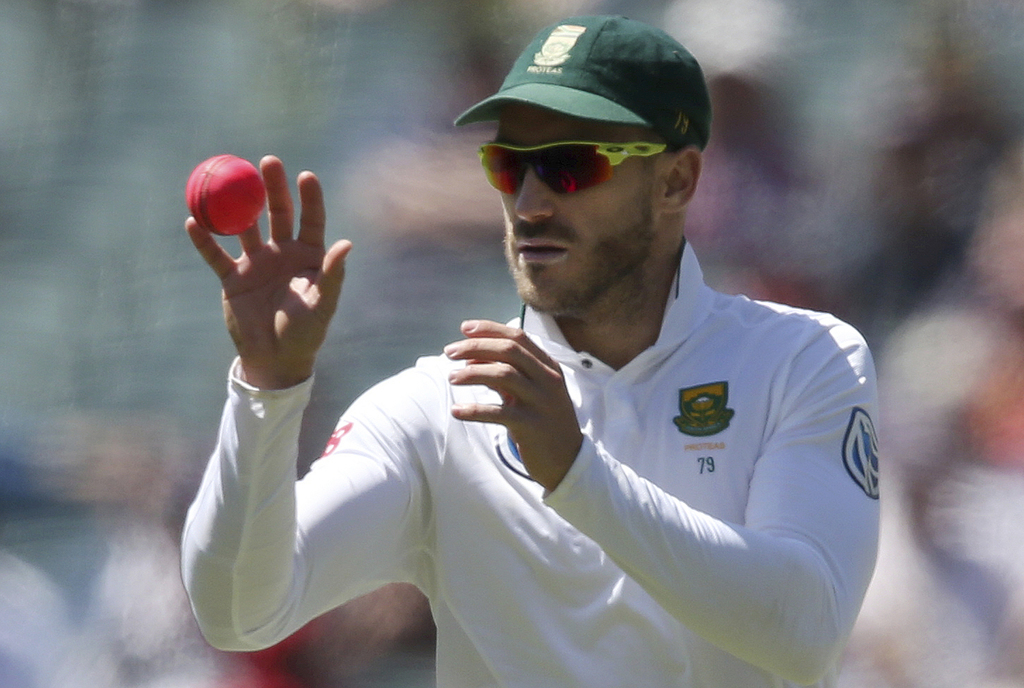 FILE - This is a Friday, Nov. 25, 2016 file photo of South Africa's Faf du Plessis as he catches the ball during their cricket test mat...