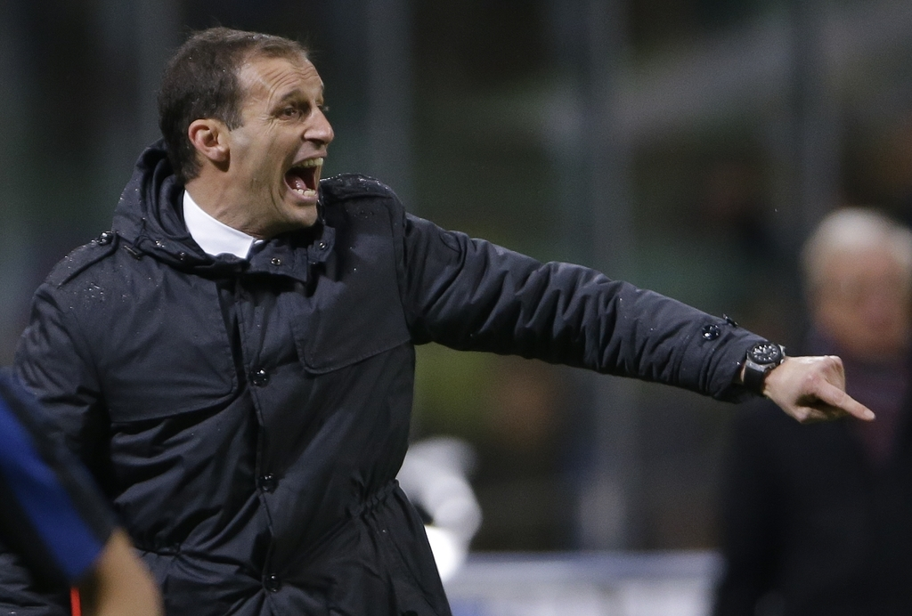 FILE - In this Wednesday, March 2, 2016 file photo, Juventus coach Massimiliano Allegri shouts during the Italian Cup second leg semifi...