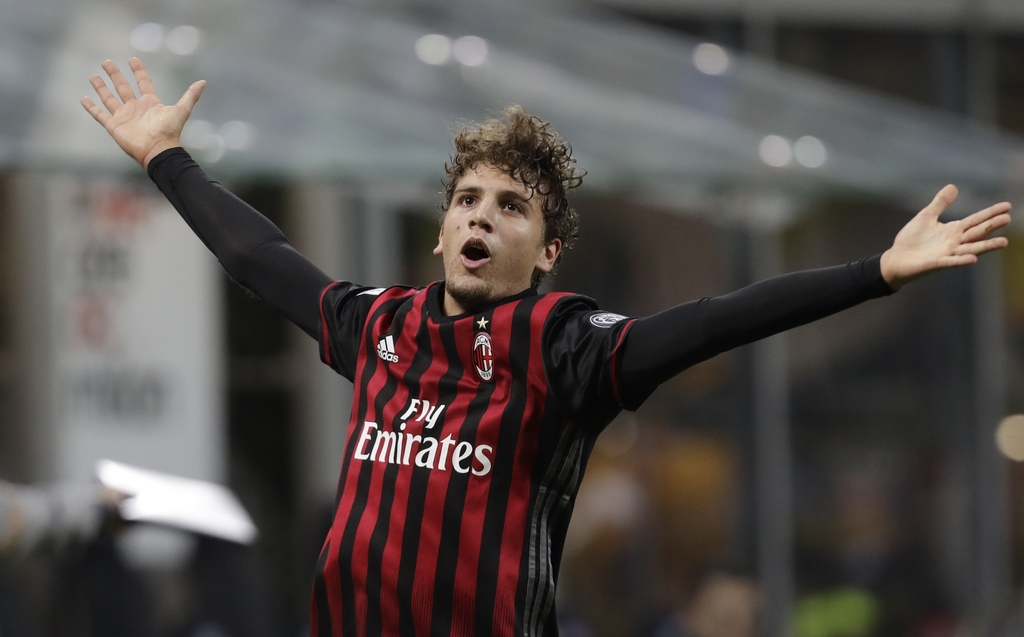 FILE - In this Saturday, Oct. 22, 2016 filer, AC Milan's Manuel Locatelli celebrates after scoring during a Serie A soccer match betwee...