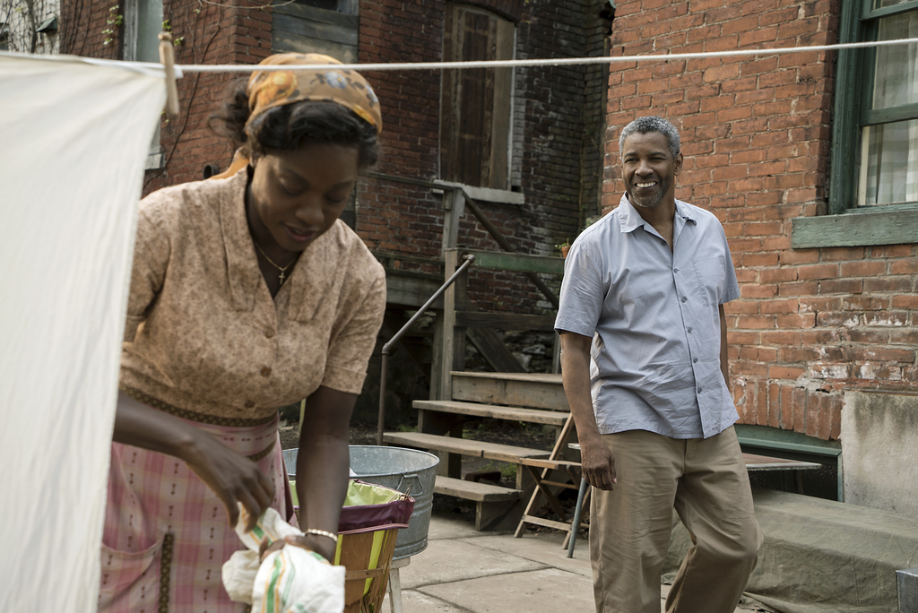 """This image released by Paramount Pictures shows Denzel Washington, right, and Viola Davis in a scene from """"Fences,"""" directed by Washing..."""