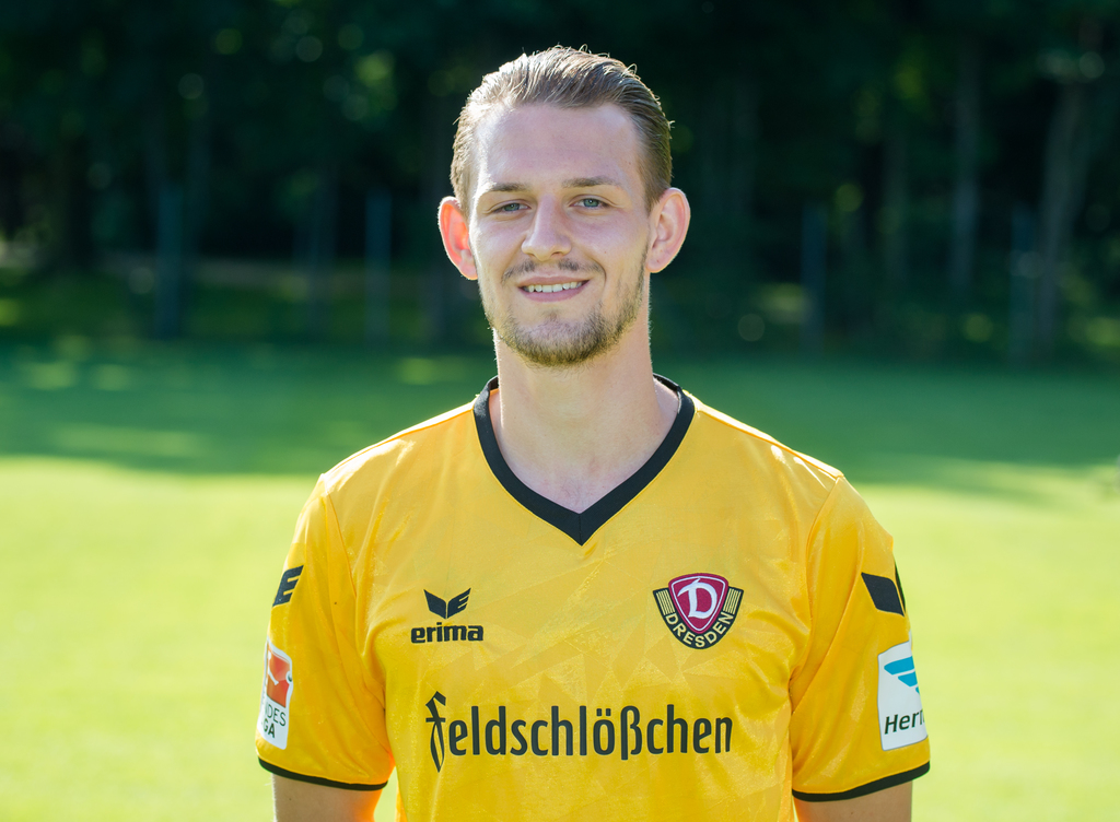 FILE - In this July 19, 2016 file photo Germany's second-division Dynamo Dresden defender Marc Wachs poses for a photo in Dresden, east...