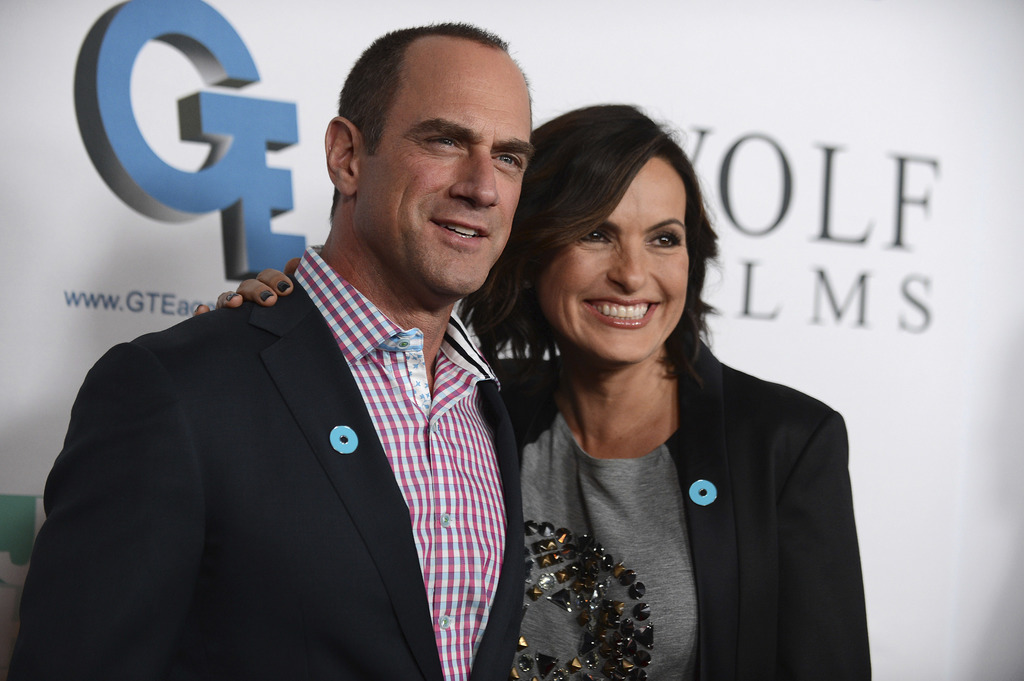 FILE - In this Sept. 26, 2013, file photo, Christopher Meloni, left, and Mariska Hargitay arrive at JoyROCKS launch of the No More PSA ...