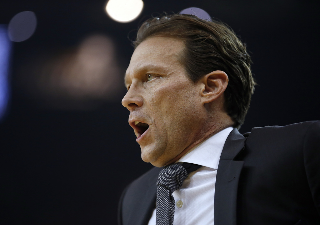 Utah Jazz coach Quin Snyder yells out a play during the first half against the Golden State Warriors in an NBA basketball game Tuesday,...