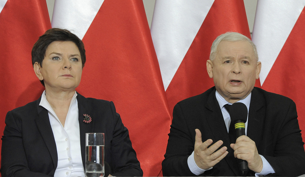 Jaroslaw Kaczynski, chairman of the populist ruling Law and Justice party, speaks during a press conference with Poland's Prime Ministe...