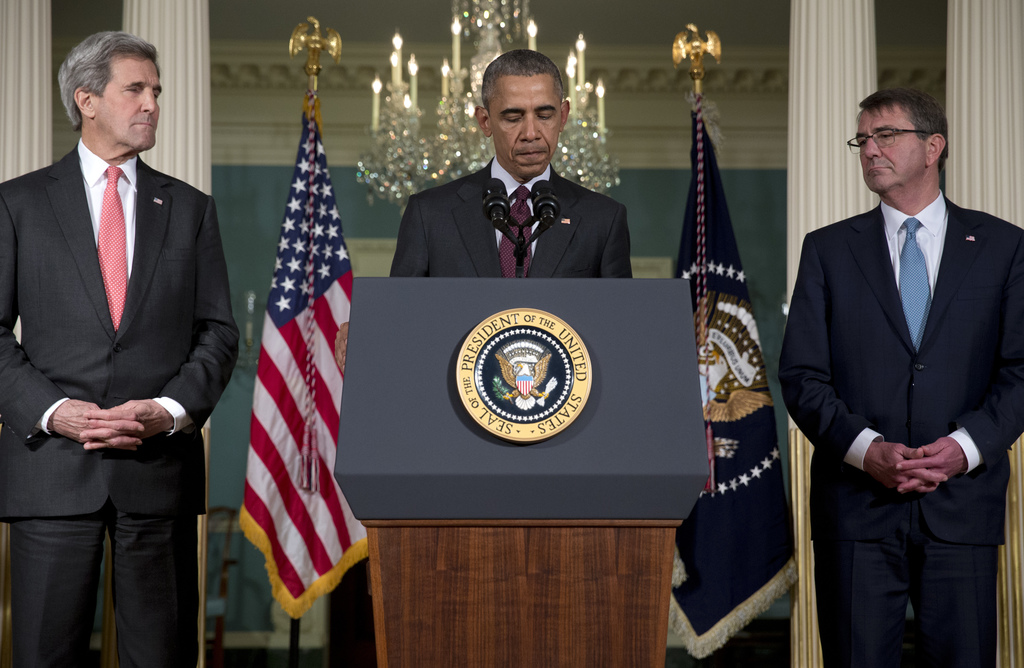 FILE - In this Feb. 25, 2016, file photo, President Barack Obama, joined by Secretary of State John Kerry, left, and Defense Secretary ...
