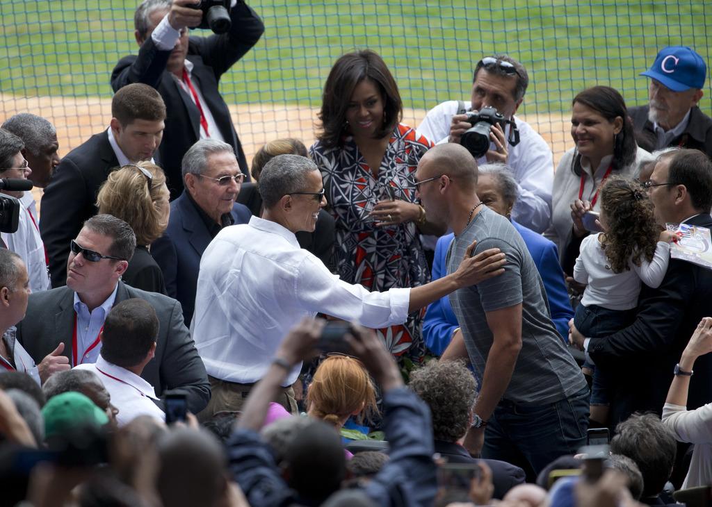 FILE - In this March 22, 2016, file photo, U.S. President Barack Obama, center left, introduces former New York Yankees great Derek Jet...