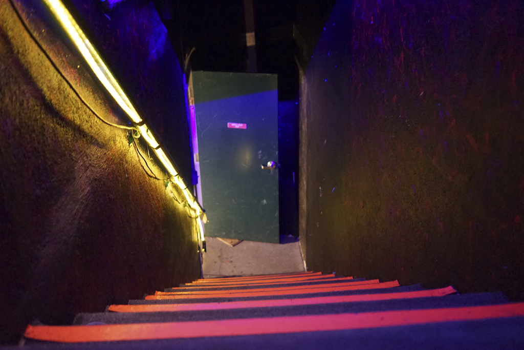 This Dec. 19, 2016 photo shows an interior exit stairway at an underground music club known as known as Purple 33 in a Playa Vista neig...