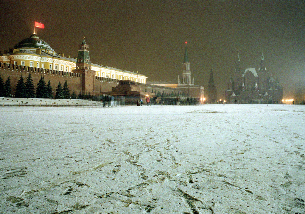 FILE - In this Saturday, Dec. 21, 1991 file photo, the Soviet flag flies over the Kremlin at Red Square in Moscow, Russia. AP's Nataliy...