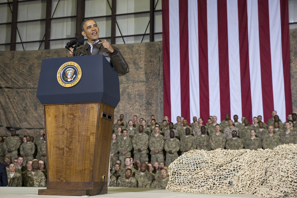 FILE - This May 25, 2014 file photo shows President Barack Obama speaking during a troop rally after arriving at Bagram Air Field for a...