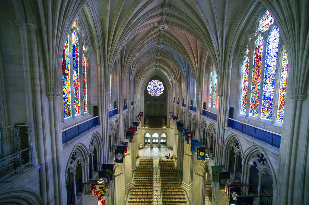 FILE - This Wednesday, Feb. 18, 2015 file photo shows the nave of the Washington National Cathedral in Washington. A day after Donald T...