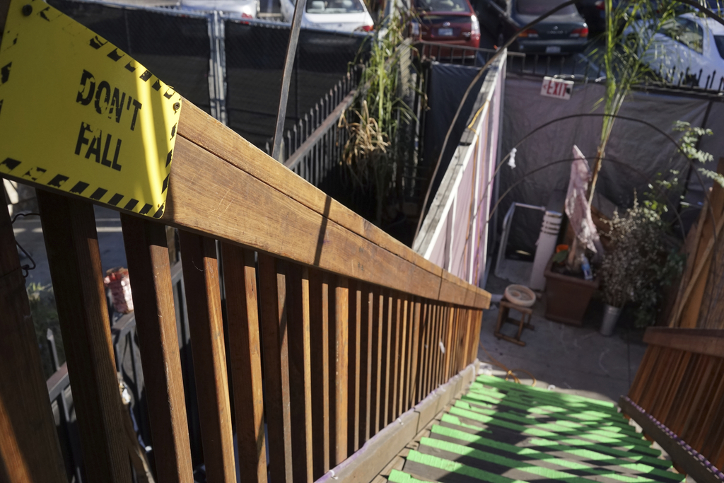 This Dec. 19, 2016 photo shows an exterior stairway of an underground music club known as known as Purple 33 in a Playa Vista neighborh...
