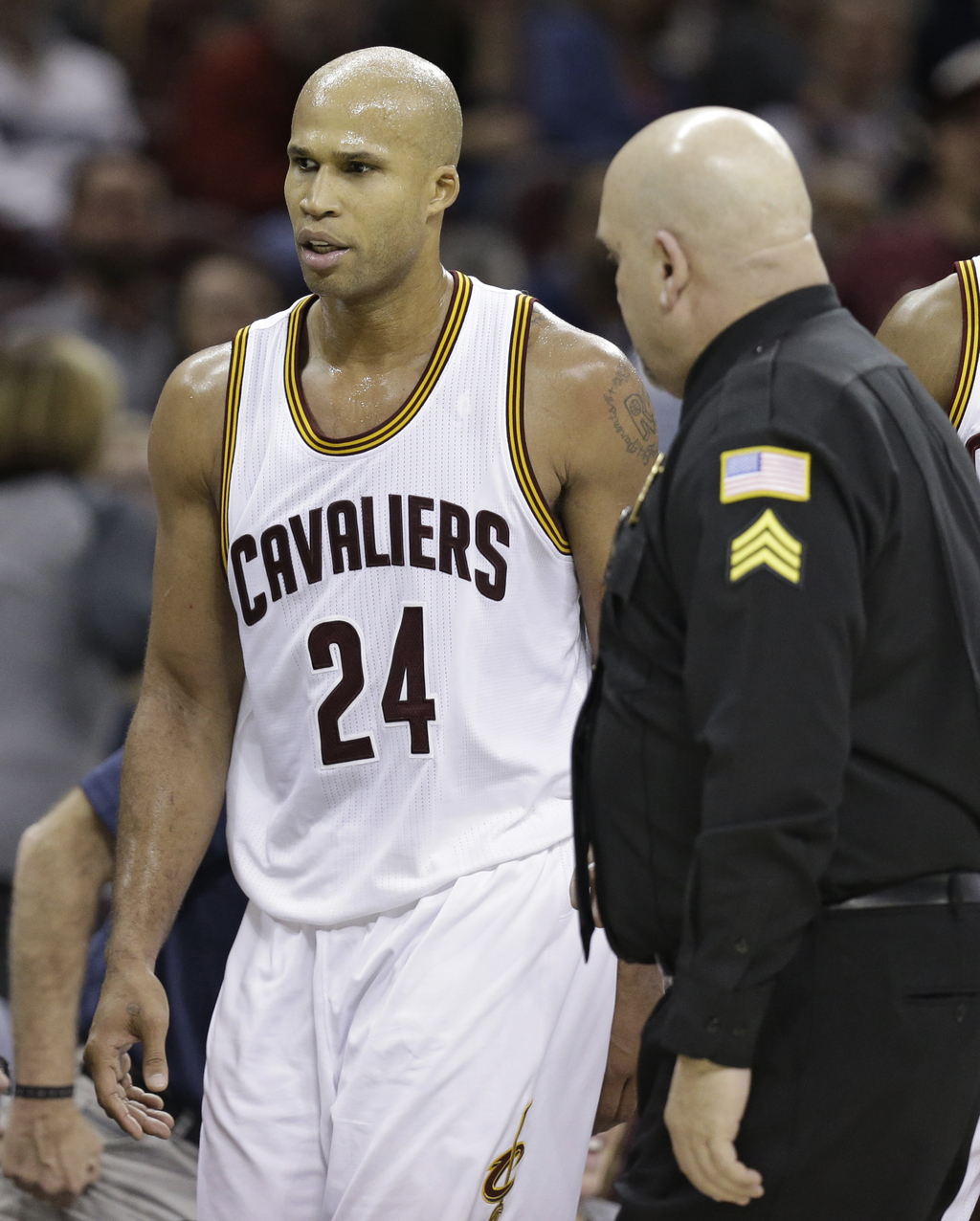 Cleveland Cavaliers' Richard Jefferson is escorted off the court after being ejected during the second half of an NBA basketball game a...