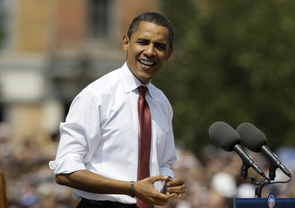 FILE - In this Aug. 23, 2008, file photo, then-Democratic presidential candidate Sen. Barack Obama D-Ill., appears at a campaign stop i...