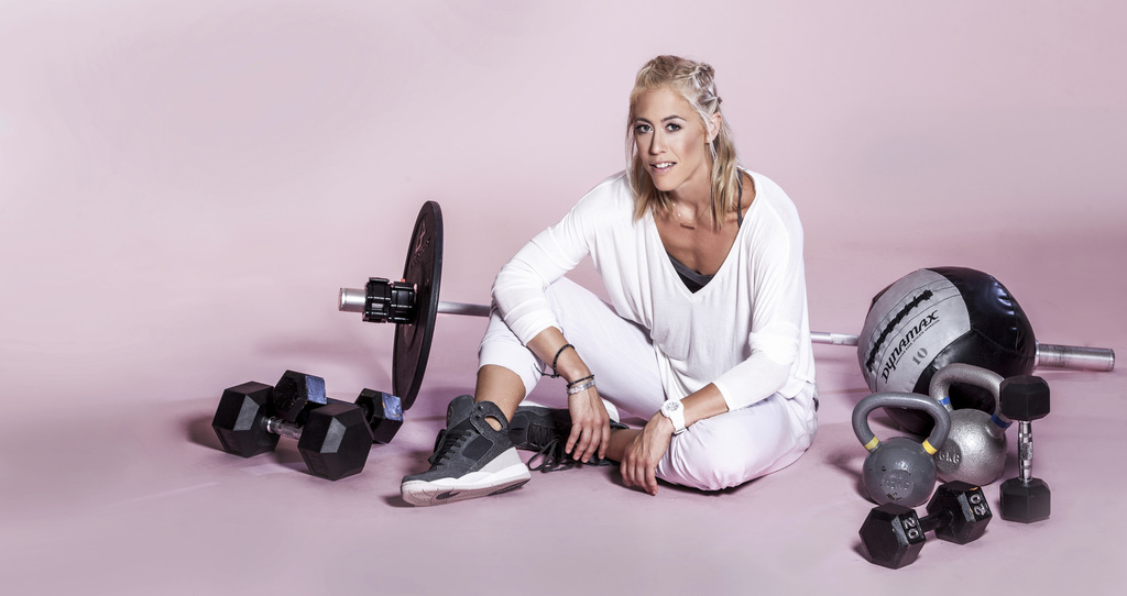 This undated photo shows fitness trainer Lacey Stone. Stone is a tough-as-nails trainer with a heart of gold. The Los Angeles-based Fly...